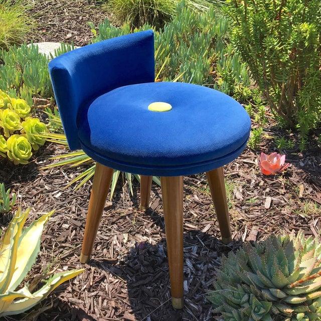 Mid 20th Century Mid-Century Modern Swivel Blue Velvet Vanity Chair For Sale - Image 5 of 9