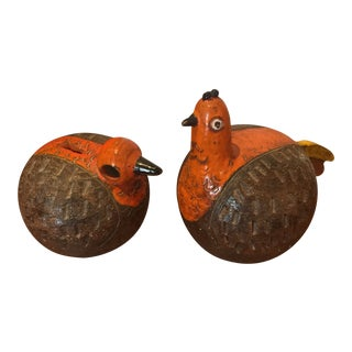 1960s Mid-Century Modern Aldo Londi for Bitossi Orange Ceramic Bird Sculptures - a Pair