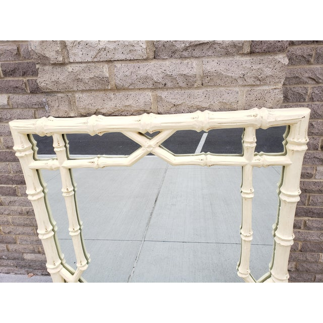 Large Faux Bamboo Hollywood Regency Painted Mirror For Sale In New York - Image 6 of 13