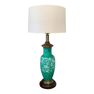 Mid Century Frederick Cooper Green Glaze Lamp For Sale