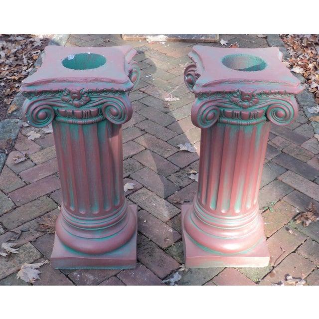 Antique Painted Concrete Corinthian Columns - A Pair For Sale - Image 10 of 10
