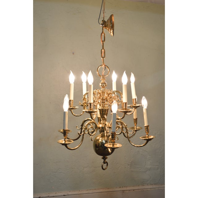 Item 16154 Virginia Metalcrafters 12 Arm Brass Colonial Williamsburg Chandelier Age Country
