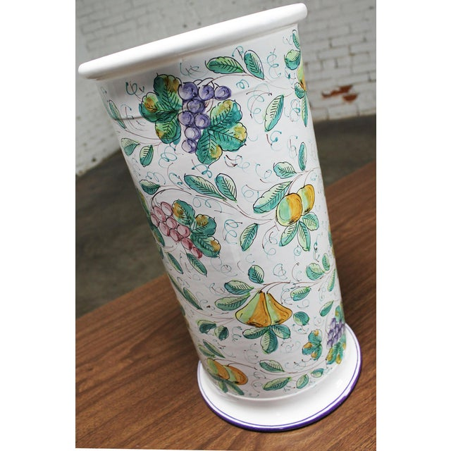 Vintage Italian Castelli Pottery Umbrella Stand Signed L. Pardi For Sale - Image 11 of 11