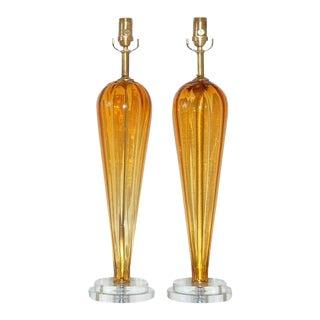 Vintage Italian Glass Teardrop Table Lamps Butterscotch For Sale