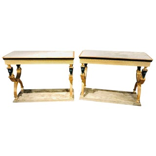 Pair of Swedish Paint and Parcel Gilt Carved Lion Head Console or Serving Tables For Sale