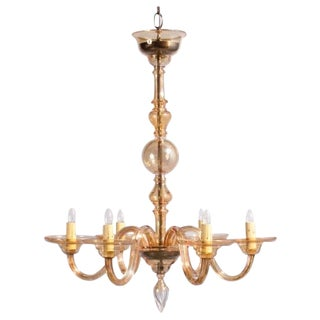 1940s Italian Amber Glass Murano Chandelier For Sale