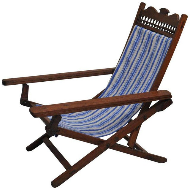 Folding, Adjustable, Sling-Back Plantation Chair With Extending Leg Rests For Sale In Nantucket - Image 6 of 6