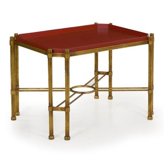 Vintage Gilt Iron Cocktail Table With Red-Painted Wooden Tray, 20th Century Preview