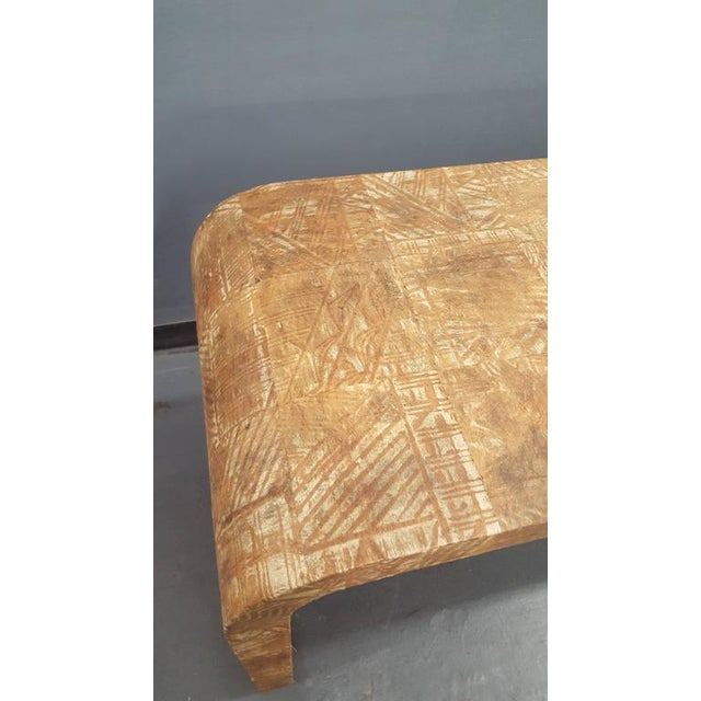 Unusual Hand-Stenciled Bark Console Table For Sale In New York - Image 6 of 7