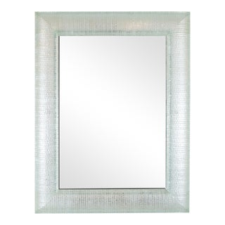 Curved & Layered Glass Framed Rectangular Wall Mirror For Sale