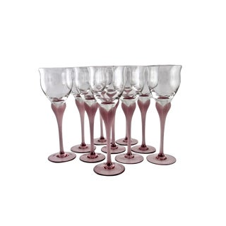 1980s Art Deco Mikasa Crystal Wine Glasses - Set of 10 For Sale
