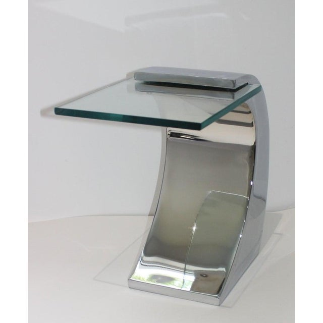 Vintage Drinks Table Wave Form Polished Steel and Glass For Sale - Image 12 of 13