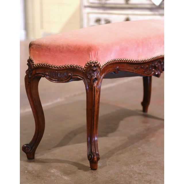 Mid 20th Century Midcentury French Louis XV Carved Walnut and Velvet Bombe and Curved Bench For Sale - Image 5 of 9