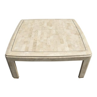 Maitland Smith Tassellated Stone Brass Inlay Mosaic Coffee Table For Sale