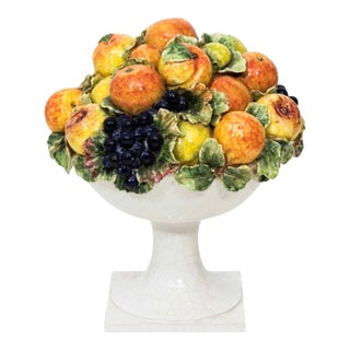 Italian Majolica Ceramic Fruit Basket Centerpiece For Sale