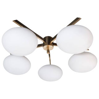 Modernist Brass & Frosted Glass Five-Arm Globe Chandelier For Sale