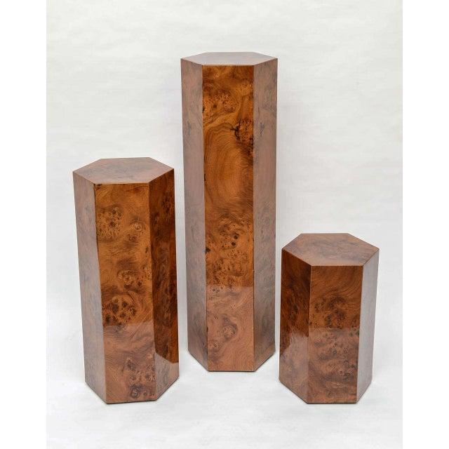 Hexagonal Burl Wood Pedestals - Set of 3 For Sale - Image 10 of 10