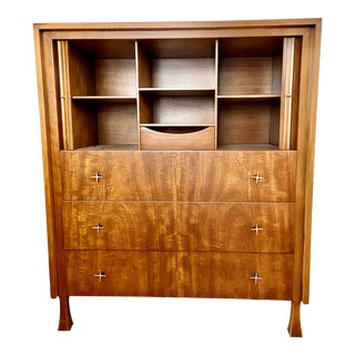 John Widdicomb Stylized Ribbon Mahogany Cabinet or Dresser For Sale