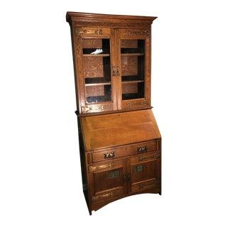 Oak Slant Front Secretary Desk For Sale