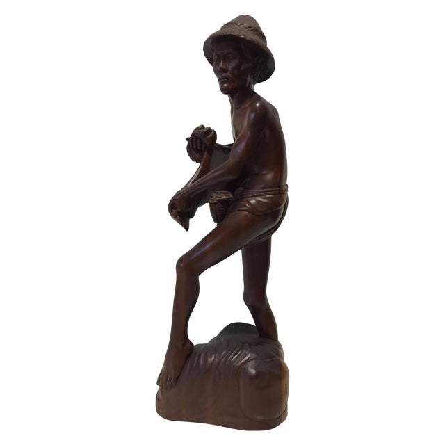 Rosewood Hand Carved Asian Fisherman Statue For Sale