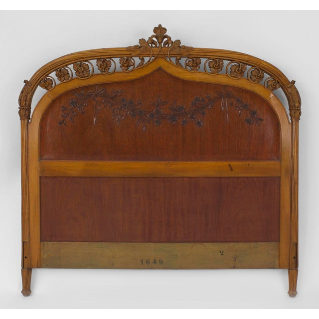 French Art Nouveau Maple Full Size Headboard For Sale - Image 4 of 4