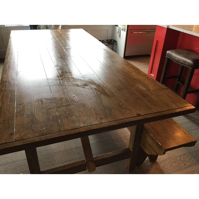 Brown Country Pottery Barn Dining Table with Bench For Sale - Image 8 of 11