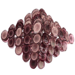 Monumental Amethyst Color Murano Glass Disc Chandelier in the Manner of Vistosi For Sale
