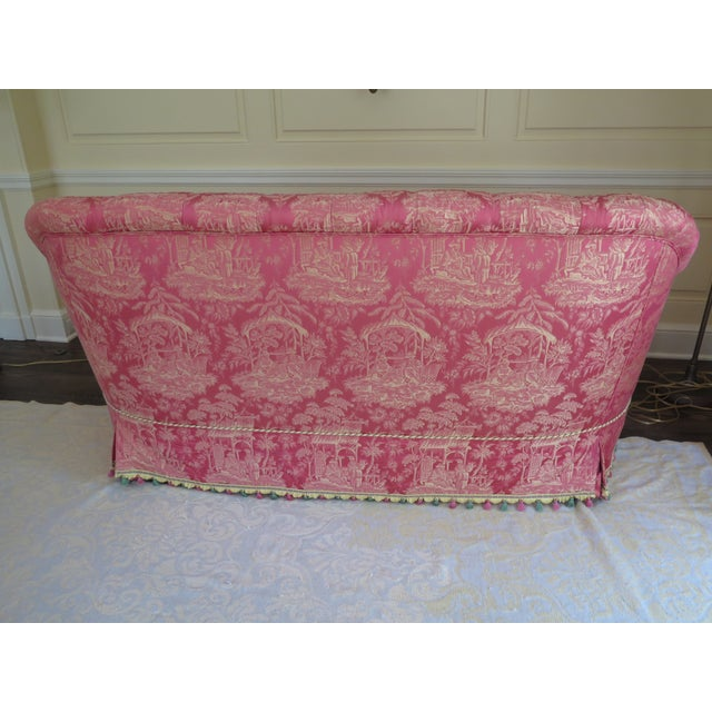 1990s Vintage Chinoiserie Silk Upholstered Tufted Loveseat For Sale - Image 11 of 13