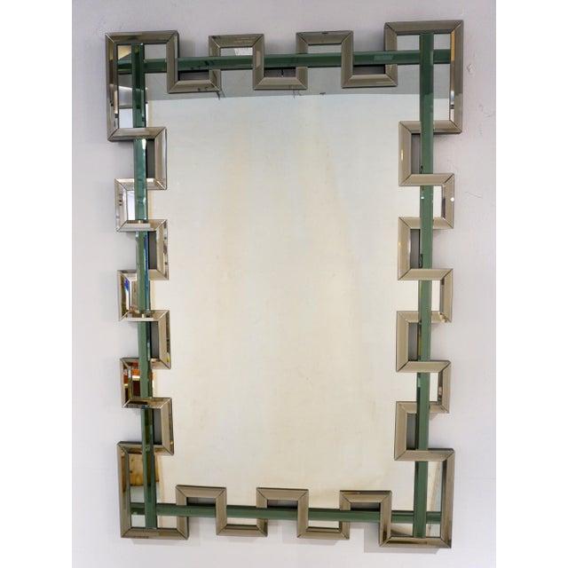 (Julius) Lars Hoftrup Contemporary Italian Geometric Murano Glass Mirror With Aqua Green Ribbon For Sale - Image 4 of 13
