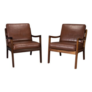 Pair of Senator Chairs by Ole Wanscher in Brown Leather For Sale