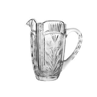 Vintage Cut Etched Floral Design Clear Crystal Glass Pitcher For Sale