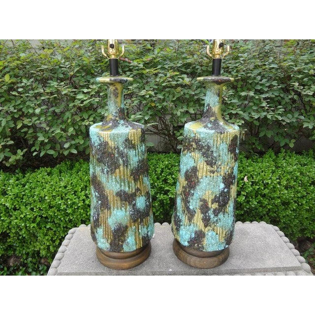 Aldo Londi Larger Italian Bitossi Attributed Glazed Ceramic Lamps-A Pair For Sale - Image 4 of 13