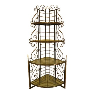 Iron & Brass Corner Bakers Rack For Sale