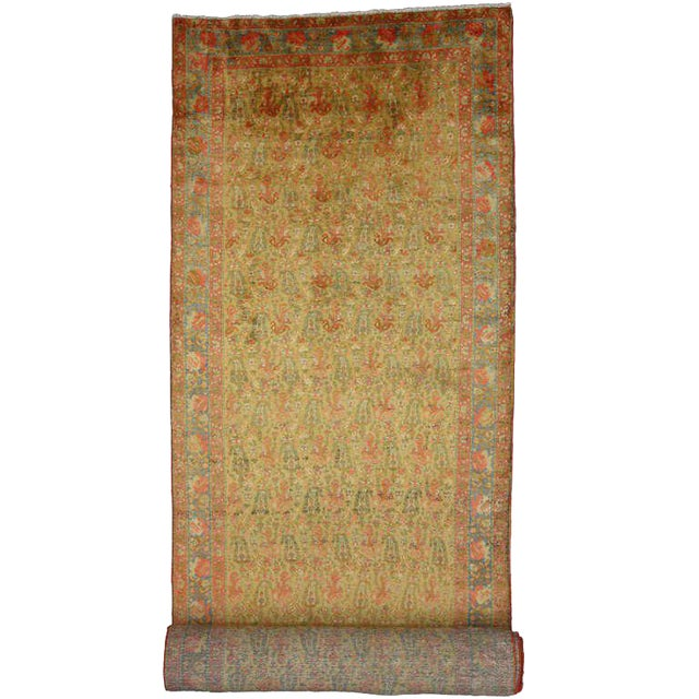 Antique Persian Mahal Long Persian Carpet Runner - 03'09 X 28'04 For Sale