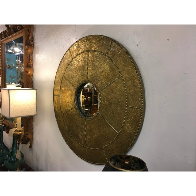 Mid-Century Modern Sarreid Hammered Brass Mirror For Sale - Image 3 of 10