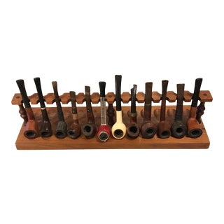 Vintage Wood Pipe Stand & Pipes - Set of 12