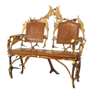 Rustic German Oak and Antler Loveseat For Sale