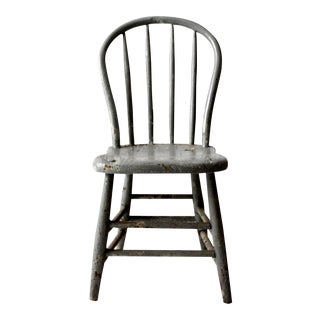 Antique Primitive Gray Spindle Chair For Sale