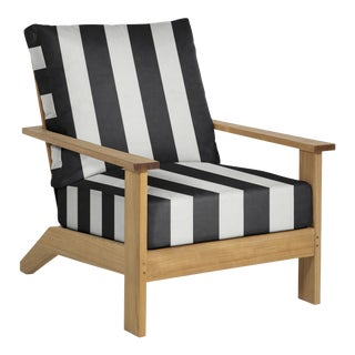 Summer Classics Ashland Teak Lounge in Cabana Stripe Midnight For Sale