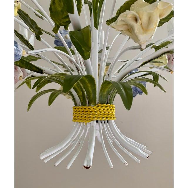 Majolica Vintage Ca 1950s Italian Tole 6 Arms Chandelier & Porcelain Rosebuds Flowers For Sale - Image 4 of 13