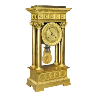 French Empire Bronze Mantle Clock For Sale