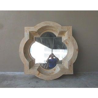Vintage Pickled Carved Wood Octagonal Stepped Framed Mirror Preview
