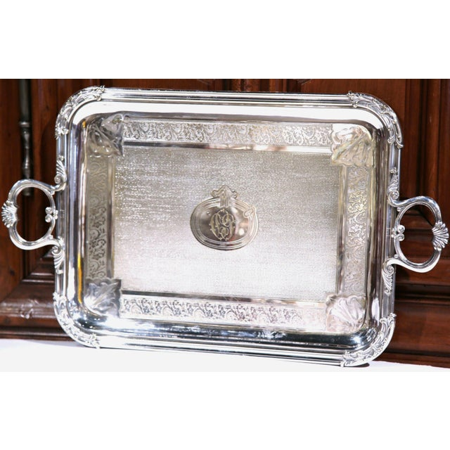 French 19th Century French Silver Plated Tray Signed Pelloutier & Cie, 1894 For Sale - Image 3 of 9