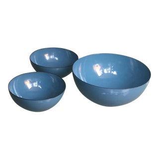 Teal Blue Enamel Bowls Attributed to Kai Franck Finel Arabia Unmarked - Set of 3 For Sale
