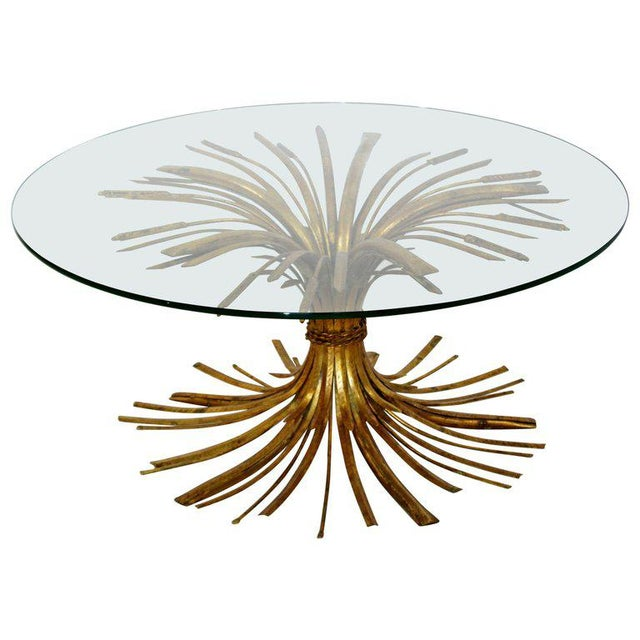 1960s Mid-Century Modern Hollywood Regency Gilt Wheat Sheaf Round Cocktail Table For Sale In Detroit - Image 6 of 6