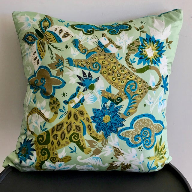 2010s Vintage Scarf Decorative Pillow For Sale - Image 5 of 5