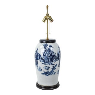 19th Century Chinese Blue and White Porcelain Vase Table Lamp For Sale