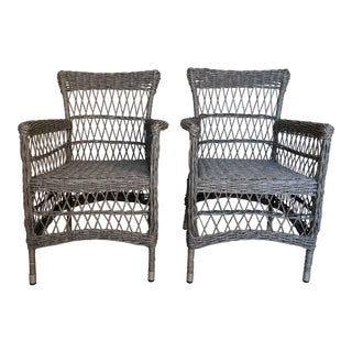 Vintage Broyhill Wicker Chairs- a Pair For Sale