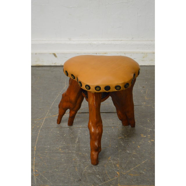 Leather Cypress Tree Root Leather Seat Small Stool For Sale - Image 7 of 10
