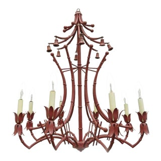 1940s Red Italian Faux Bamboo Chinese Chippendale Tole Metal Pagoda Chandelier For Sale